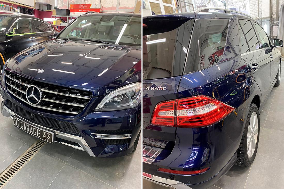 Смотреть на фото Mercedes-Benz ML после полировки.