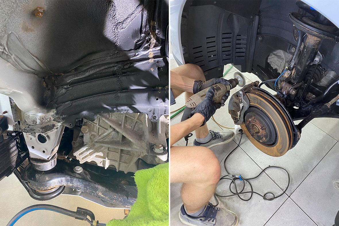 На фото арка автомобиля Lexus RX до обработки антикором и после.