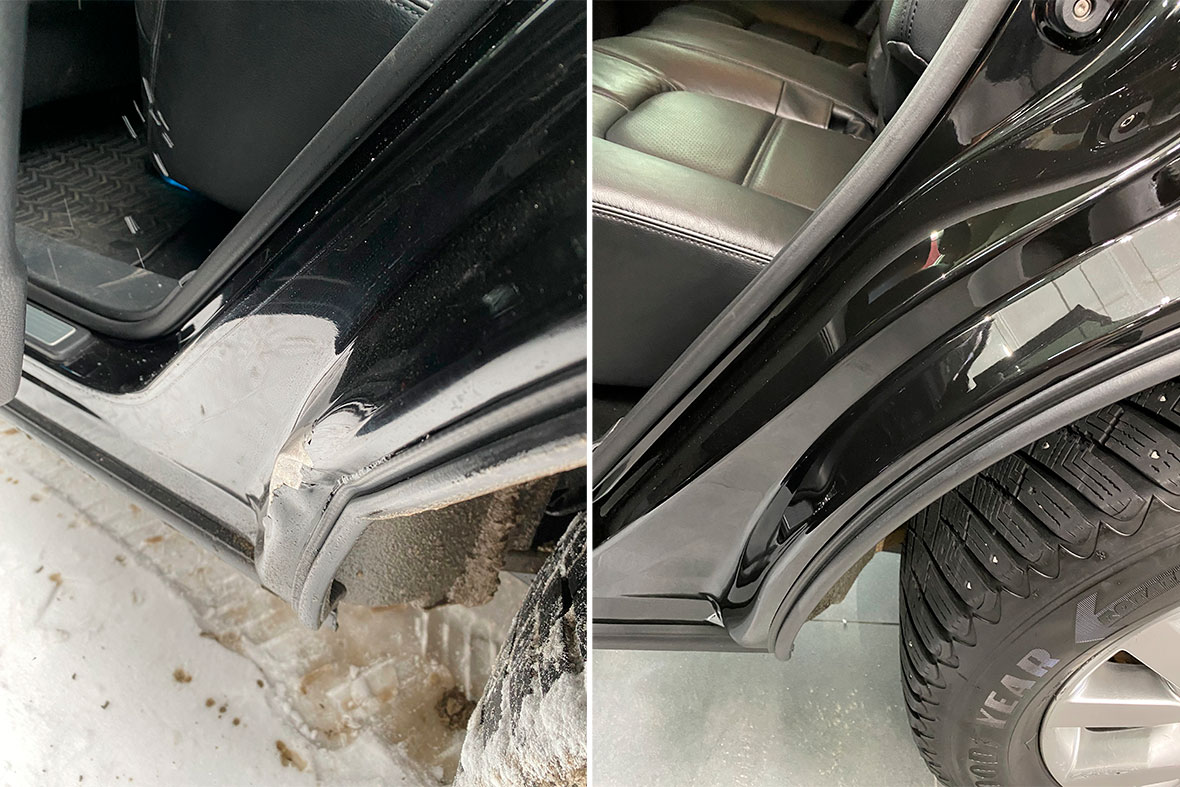 Смотреть фото до и после дверного приема до ремонта вмятины и после ремонта. Оцените качество покраски.