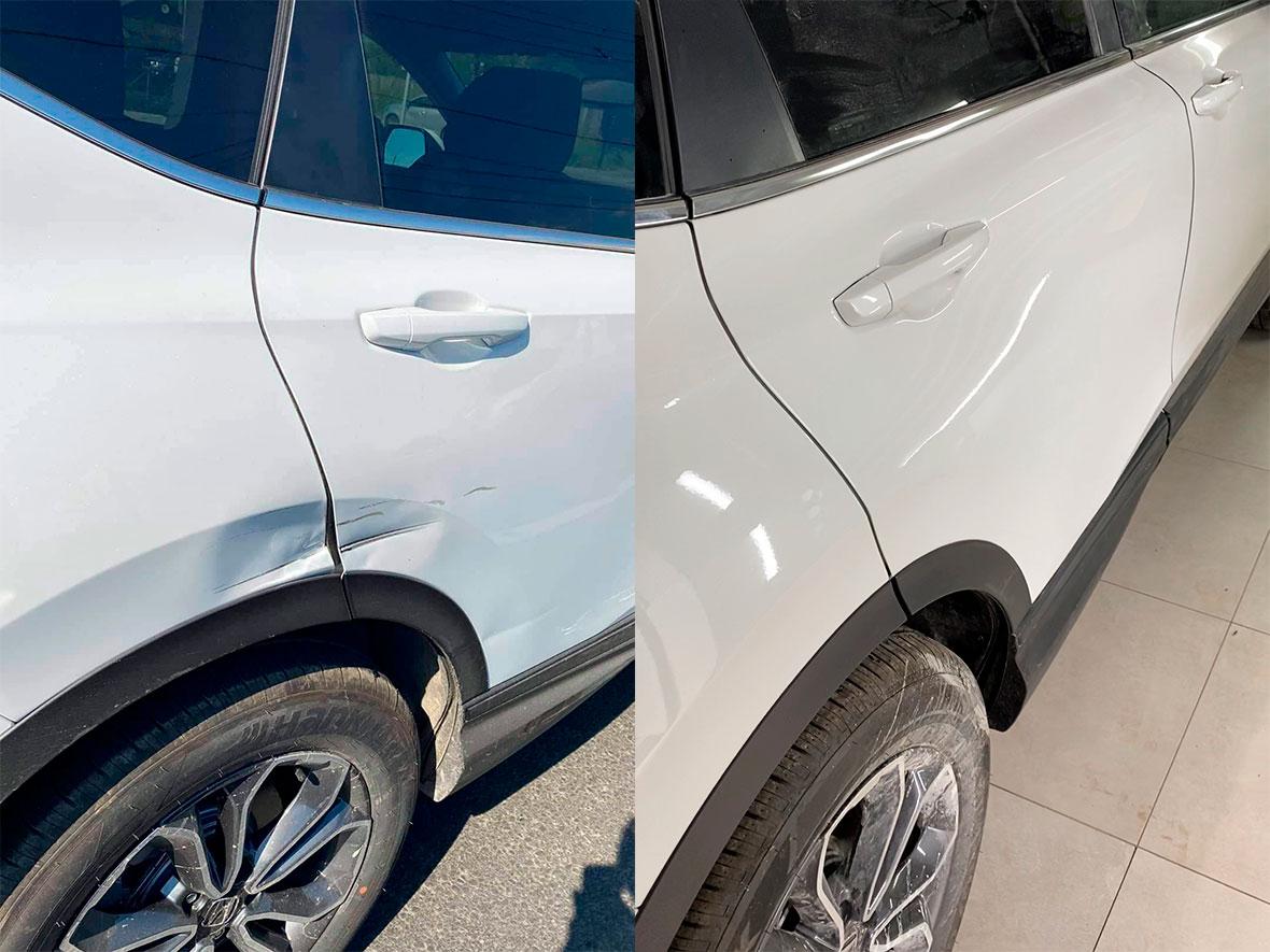 Смотреть на фото дверь и крыло автомобиля до и после покраски.