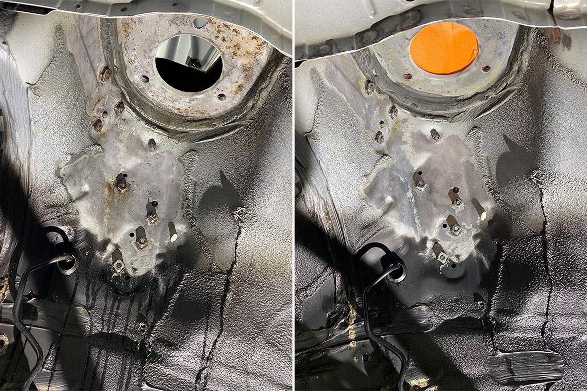 На фото арочный колодец до зачистки от ржавчины и после зачистки.