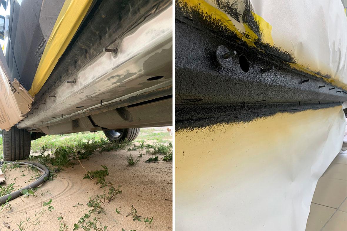 Пошаговое удаление коррозии на порогах Mercedes-Benz GL.
