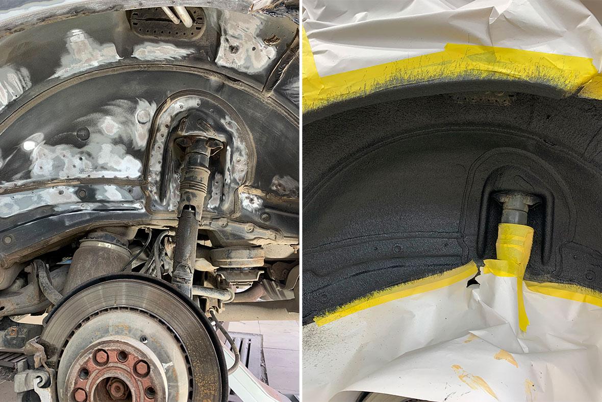 Арка Mercedes-Benz GL до нанесения антикора и после. Зачистка арки от коррозии.